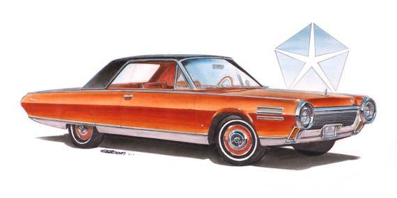 1964 Chrysler Turbine Car 12x24 Inch Art Print By Jim Gerdom Etsy