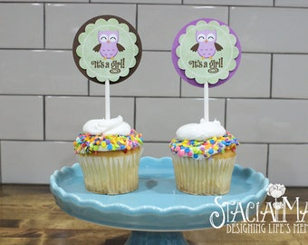 It's a Girl Owl Baby Shower Cupcake Toppers