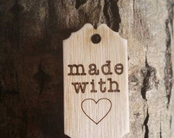 """12 Wooden """"Made with Love"""" Tags for Handmade Gifts"""
