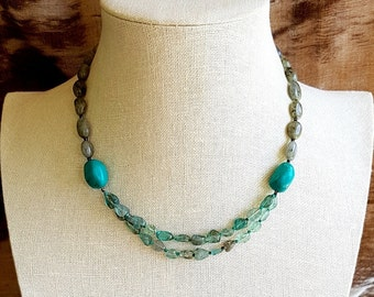 Turquoise, Cyanite and Labradorite Necklace.