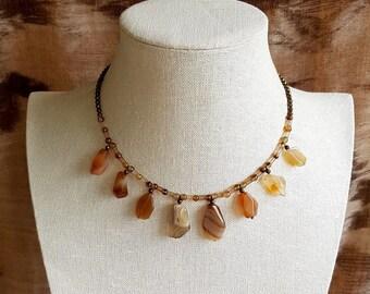 Necklace of Agate, Quartz and Smoky Quartz.