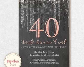 40th Birthday Invitation Any Age Glitter 30th Printable Invite