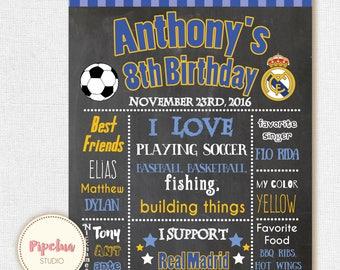 Real Madrid Chalkboard Poster . Soccer chalkboard poster. Real Madrid birthday  poster. Real Madrid party. Printable Birthday Poster