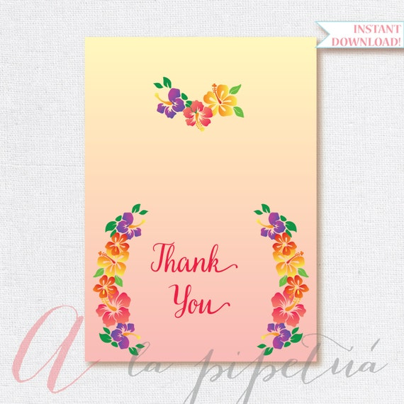 Thank You Card Luau Thank You Card Foldable Thank You Card Etsy