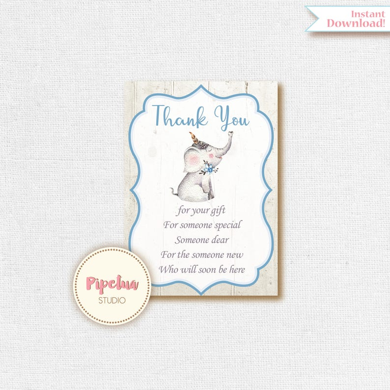 Thank You Letter For Baby Shower.Elephant Thank You Card Elephant Baby Shower Thank You Insert Elephant Thank You Insert Elephant Thank You Elephant Baby Shower Insert