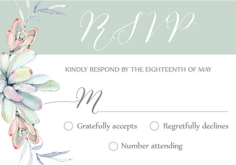 Succulent invitation Succulent RSVP Succulent Wedding Invitation Set Succulent wedding set Wedding RSVP card Succulent Details insert