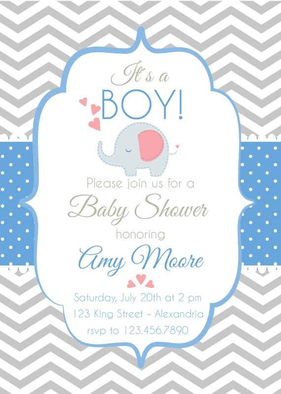 Invitación Para Baby Shower Con Elefantes Para Niño O Niña
