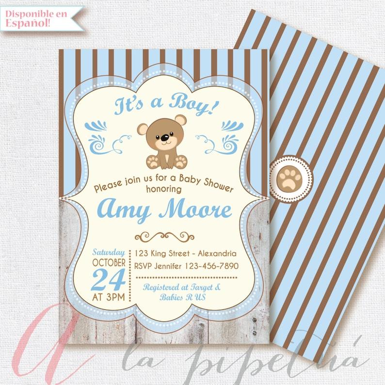 Invitacion Para Baby Shower Con Oso Etsy