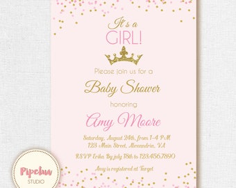 Baby shower invitation. Princess baby shower invite. Crown shower invitation. Princess princess babyshower. Printable crown invite.