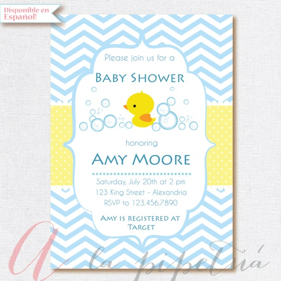 baby shower invitation baby boy rubber ducky babyshower etsy