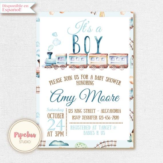 Train baby shower invitation its a boy invitation train etsy image 0 filmwisefo