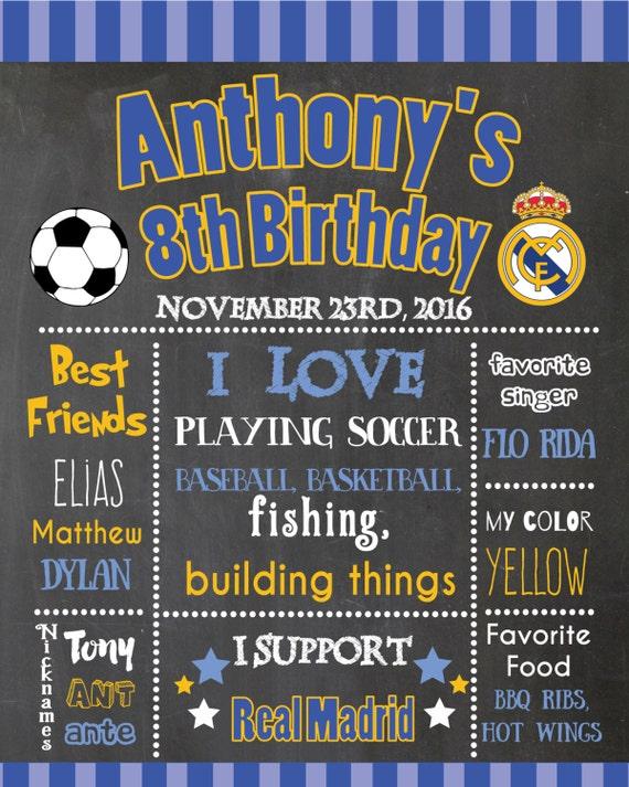 Real Madrid Tafel Poster Fußball Tafel Plakat Real Madrid Geburtstag Plakat Real Madrid Party Druckvorlage Poster