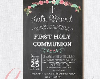 Chalkboard invitation. First Communion Invitation. First Holy Communion. Printable Party invitation. Chalkboard First Communion invitation.