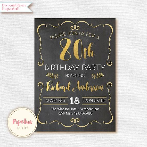 Chalkboard Invitation 80th Birthday 70th