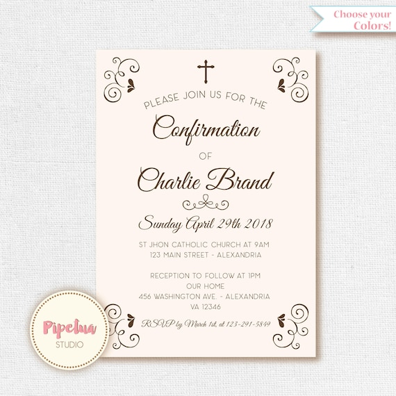 confirmation invitation holy confirmation printable etsy