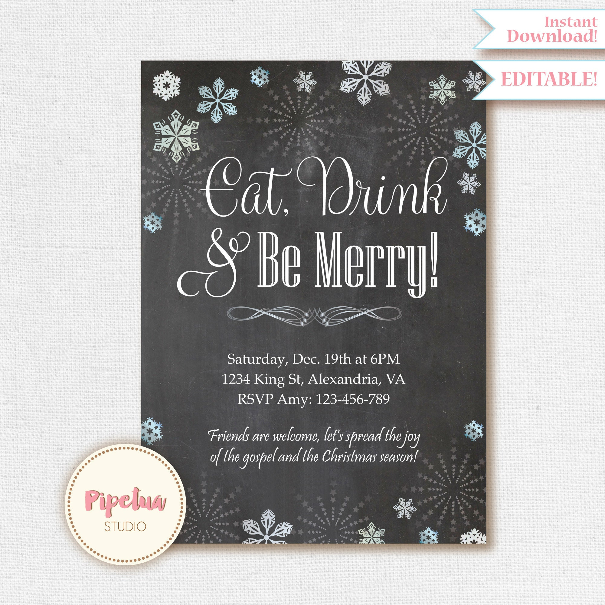 Christmas Invitation Christmas Party Invitation Printable