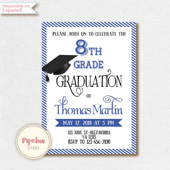 photo about Printable Graduation Invitations referred to as 8th Quality Commencement invite. Printable commencement invitation. 8th quality invitation. 8th quality Advertising and marketing