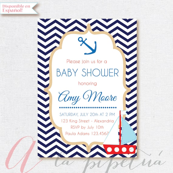 Invitación Para Baby Shower Náutica Invitación Baby Shower Niño O Niña Imprimible