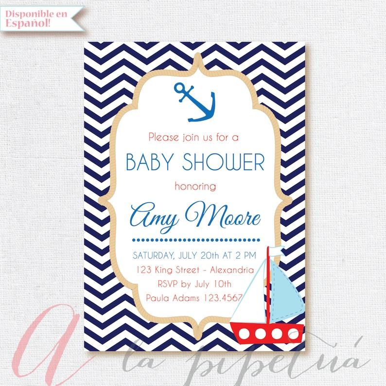 353ee4ca198f1 Invitación para Baby Shower. Náutica. Invitación Baby shower