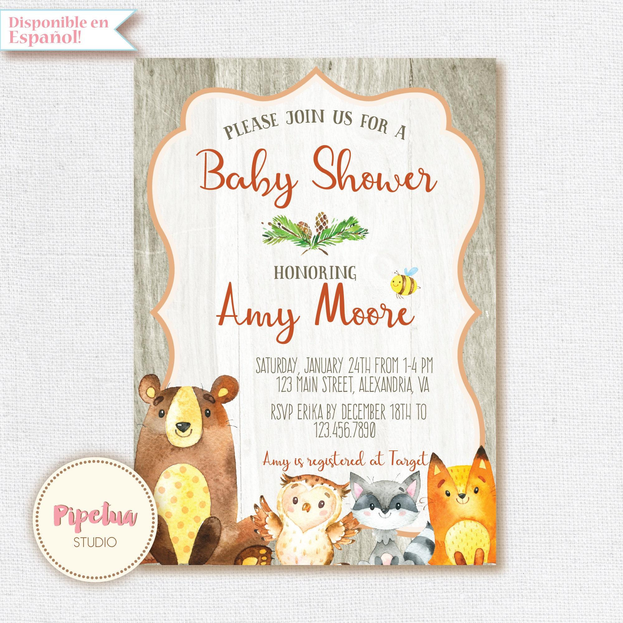 Wald-Baby-Dusche Einladung. Baby-Dusche-laden mit Waldtieren.   Etsy