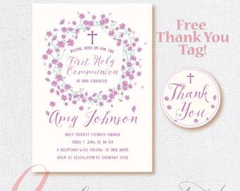 First Communion Invitation. First Holy Communion. Printable Party invitation. Floral First Communion invitation.