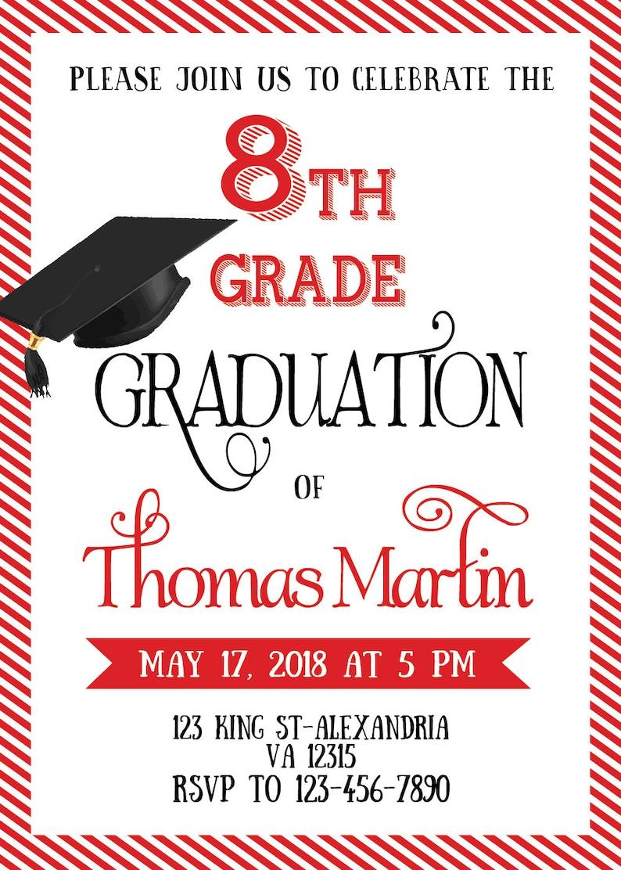 8th grade graduation invite  printable graduation