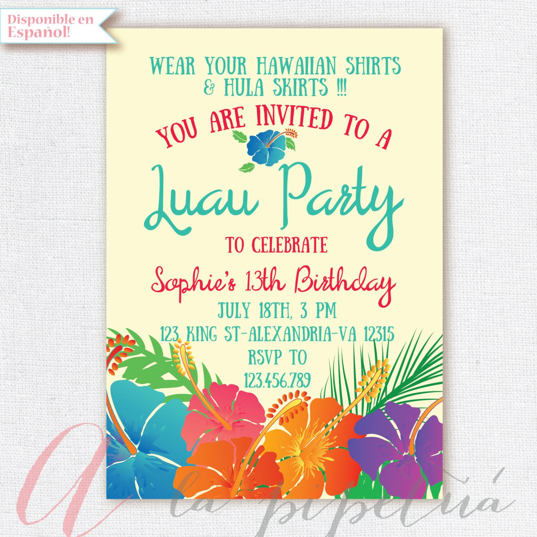 Luau Invitation Birthday Party. Hawaiian Party Invitation
