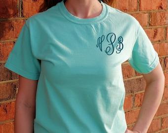 32849520b Comfort Colors Short Sleeve Monogram T-Shirt (Embroidered Monogrammed Tee