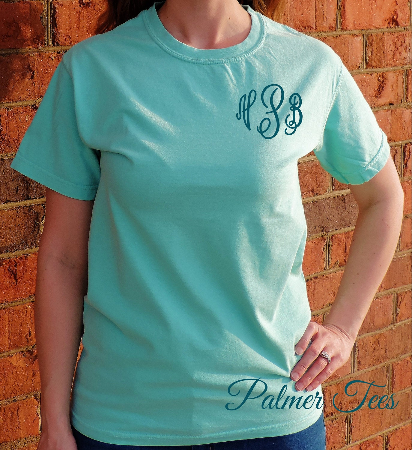Comfort Colors Short Sleeve Monogram T Shirt Embroidered Etsy