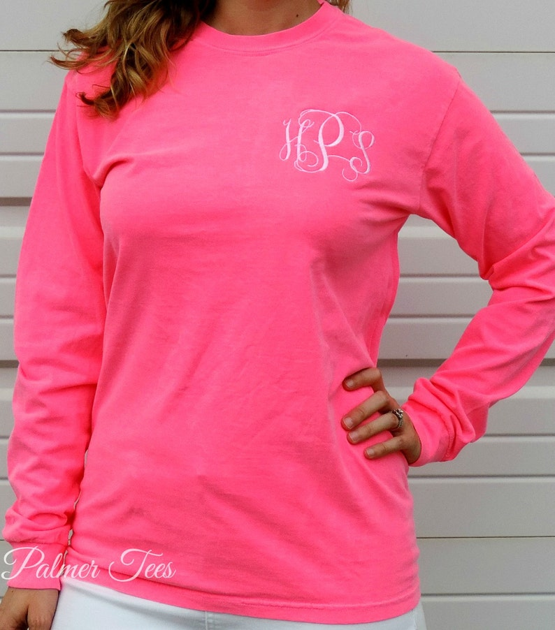 9f269dd3c2b2 Comfort Colors Long Sleeve Monogrammed T-Shirt (Adult Embroidered Monogram  Unisex Tee Shirt Sizes S-3X) 6014