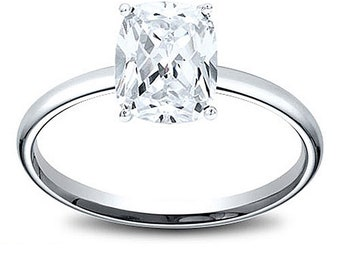 14K Gold 1.21 ct Cushion Cut GIA Diamond Solitaire Engagement Ring E I1