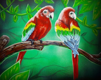 macaws original painting 16x20inch
