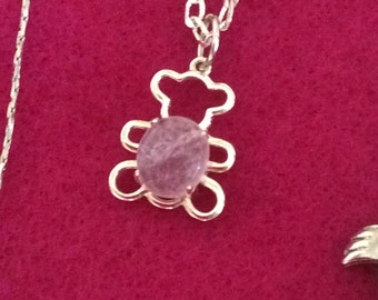 Amethyst Teddy Bear Necklace