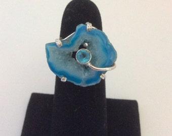 WOW ! Carolina Blue Geode Rings