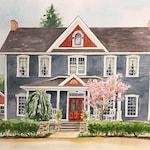 Watercolor House Portrait 11 x 14