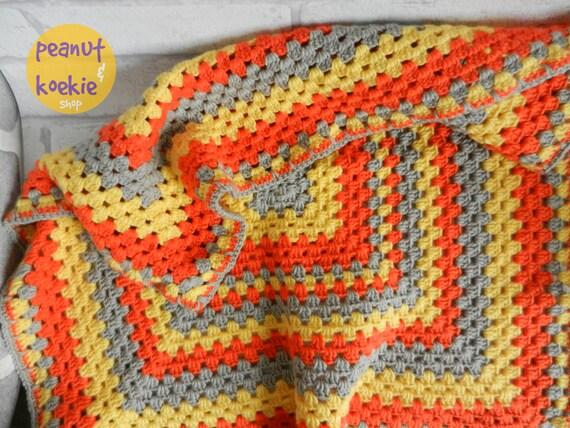 Häkeln Sie Oma Platz Decke in den Farben gelb orange und | Etsy