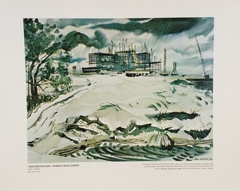 "Vintage NASA Art Print ""VAB Construction – Kennedy Space Center"""