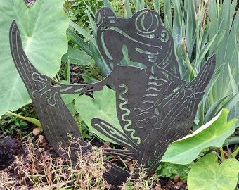Garden Art Metal - Natural Steel - Art Metal - Frog Garden Stake