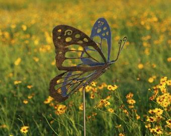 Outdoor Garden Decor   Natural Steel   Garden Decor   Monarch Butterfly  Garden Stake (Medium)