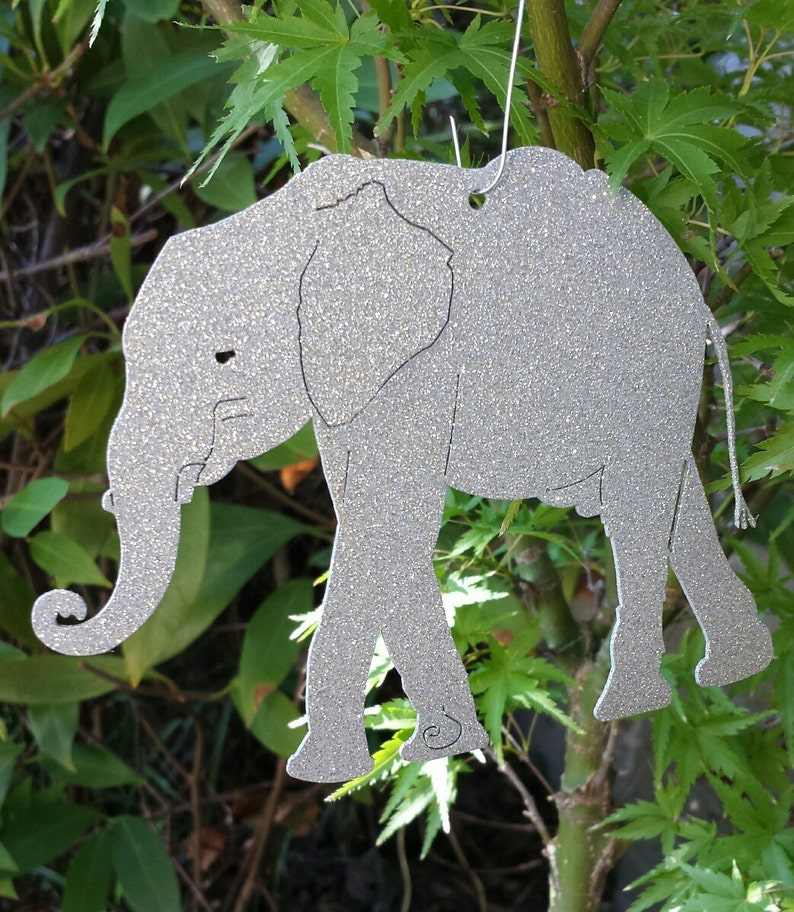 Elephant Christmas Ornaments Metal Christmas Ornament Silver With Silver Glitter Or Gold With Silver Glitter