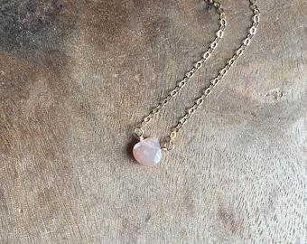 Briolette Peach Moonstone Pendant Dainty Peach Moonstone 14K Solid Gold: Peach Moonstone Necklace Teardrop Peach Moonstone Fine Jewelry