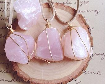 Healing Crystal Necklace - Rose Quartz Necklace - Pink Quartz Necklace - Healing Necklace - Heart Chakra Necklace - Raw Crystal Necklace