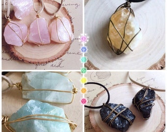 Raw Crystal Necklace - Gift For Her - Raw Stone Necklace - Healing Necklace - Crystal Necklace - Wire Wrapped Stone Necklace