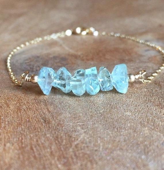 March birthstone jewellery Aquamarine bracelet raw gemstone jewellery natural crystals stacker bracelet