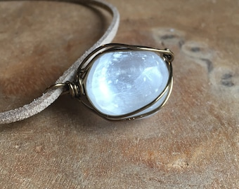Raw Selenite Necklace - Raw Crystal Healing Necklace - Raw Stone Necklace - Wire Wrapped Necklace