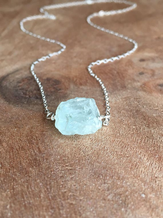 413dc88d35493 Aquamarine Necklace - March Birthstone Necklace - Raw Aquamarine Necklace -  Raw Crystal Necklace - Raw Stone Necklace - Healing