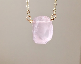 Dainty Raw Rose Quartz Crystal Necklace - Jewelry Gift For Her - Stone Necklace - Healing Gemstone - Heart Chakra