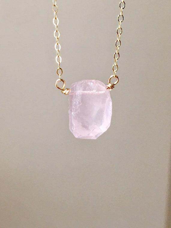 Raw Rose Quartz Necklace Silver Raw Rose Quartz Pendant healing crystals and stones Raw Rose Quartz Crystal necklace heart chakra
