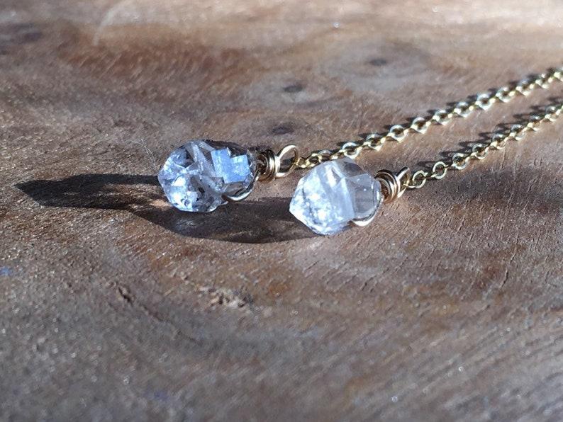 Silver or Gold Herkimer Diamond Earrings Raw Diamond Jewelry -Crystal Drop Earrings April Birthstone Earrings
