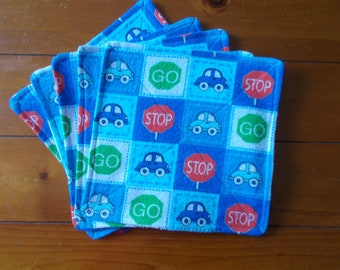 Baby washcloths (set of 5)  Stop & Go theme
